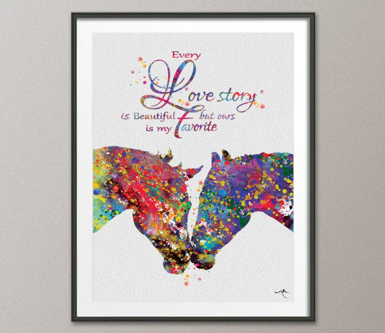 Horse Couple Kissing Love Quote Abstract Watercolor Art Print Wedding Gift Wall Decor Christmas Gift Anniversary Wall Art Decor [NO 833] - CocoMilla