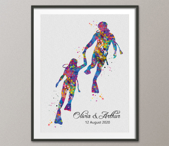 Scuba Diving Couple Watercolor Print Personalised Scuba Diving Couple Print Wall Art Diving Wedding Gift Valentine's Gift Wall Hanging-834 - CocoMilla