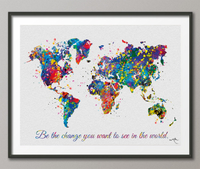 Watercolor WORLD Map Be the change Quote Art Print Travel Art Wall Wedding Gift Poster Travel Art Wall Decor Art Home Decor Wall Hanging-587 - CocoMilla