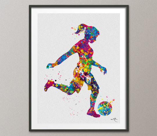 Soccer Girl Decor Watercolor Print Female Soccer Gift Soccer Art Wall Decor Woman Soccer Player Art Run with your heart Girl Wall Art-1532 - CocoMilla
