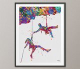 Climber Couple Watercolor Print Rock Climber Man Woman Mountain Climb Gift Poster Extreme Sport Adventure Outdoor Personelized Wall Art-416 - CocoMilla