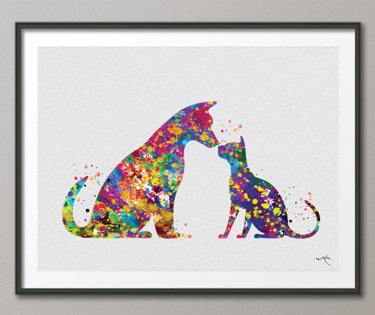 Cat and Dog Watercolor Print Pet Gift Pet Dog Love Friend Dog Friendship Gift Housewarming Gift Pet Wall Art Doglover Gift Veterinary-1636 - CocoMilla