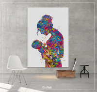 Mother and Daughter, Mother and Son, Mother and Baby, Mother and Children, Mother and Kids, Watercolor Print New Mum Baby Shower Midwife-830 - CocoMilla