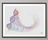 DNA Art Watercolor Print DNA Helix Molecule Structure Medical Wall Art Science Genetic Doctor Office Clinic Laboratory Biology Decor-1542 - CocoMilla