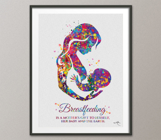 Breastfeeding Mother Quote Watercolor Print Mom Newborn Doula Pregnancy Obstetrician Nursing Baby Shower New Mum Clinic Midwife Gift-1586 - CocoMilla