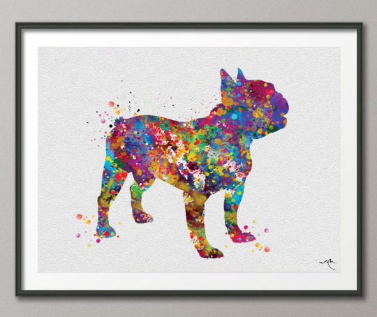 French Bulldog Art Watercolor Print Frenchie art print Bouledogue Francais Art Gift Pet Dog Love Friend Animal Dog Poster Dog Art-1195 - CocoMilla