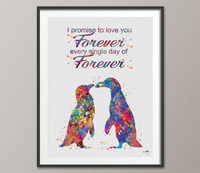 Penguin Forever Always Love Quote Watercolor Art Print Marriage Proposal Pebble Wedding Gift Wall Decor Art Wall Hanging Housewares [NO 838] - CocoMilla