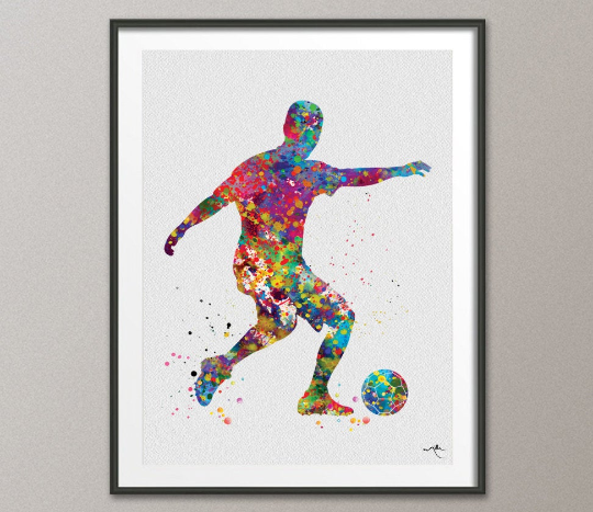 Soccer Player Man 2 Watercolor Print Running Soccer Boy Nursery Football Poster Wall Art Wall Decor Run With Your Heart Sport Wall Art-375 - CocoMilla