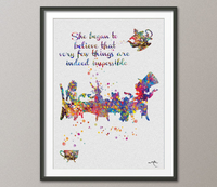 Mad Hatter Tea Party Quote Alice in Wonderland Watercolor Print Tea Time Kitchen Art For Kids Wedding gift Wall Hanging [NO 446] - CocoMilla