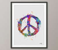 Peace Sign Symbol Poster Watercolor Print Wedding Gift Print Children's Wall Art Wall Decor Art Home Decor Wall Hanging No 349 - CocoMilla