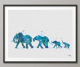 Elephants Family Mom Dad and Babys Blue Watercolor Print Wedding Gift idea Wall Art Wall Decor Home Decor Wall Hanging New born No 845 - CocoMilla
