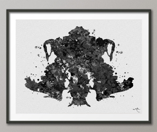 Rorschach Inkblot Test Card 4 BW Watercolor Print Psychology Psychiatry Psychotherapist Psychological Psychologist Clinic Medical Art-1324 - CocoMilla