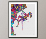 Climber Woman Watercolor Print Rock Climber Girl Mountain Climber Gift Poster Extreme Sport Adventure Outdoor Like a Girl Wall Art Decor-414 - CocoMilla