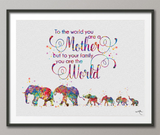 Elephants Mom Dad and 4 Baby Family MOM Quote Watercolor Print Wedding Gift Wall Art Wall Decor Art Home Decor Wall Hanging Baby Shower-741 - CocoMilla