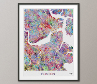 Boston Map, Boston Watercolor Print, Boston Street Map, Travel Decor, Map Art, Wall Hanging, Massachusetts Street Map, Boston Print-890 - CocoMilla