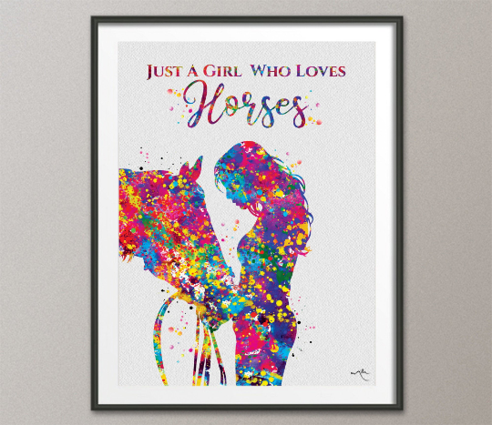 Girl with Horse Quote Watercolor Print Equestrian Wall Art Horse Rider Gift Horse Lover Art Horse Wall Art Horses Poster Housewarming-909 - CocoMilla