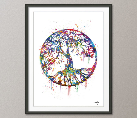 Tree of Life Watercolor Art Print Wall Art Poster Wedding Gift Nursery Nature Love Family Giclee Housewares Buddha Home Decor [NO 451] - CocoMilla