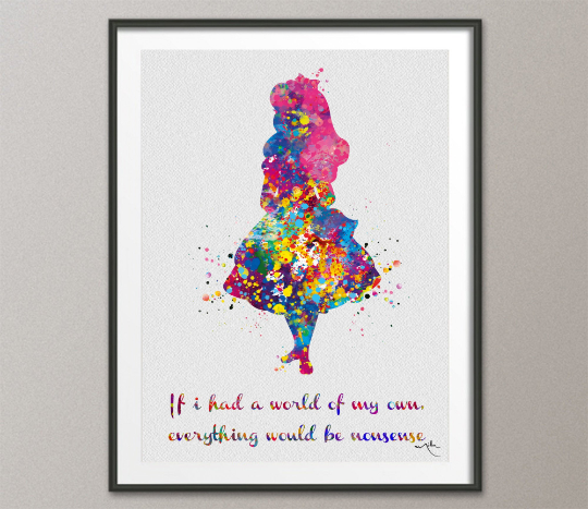 Alice in Wonderland Watercolor Print inspirational if I had a Quote Nursery Wall Art Home Nursery Decor girls Baby Shower Wall Hanging-1247 - CocoMilla