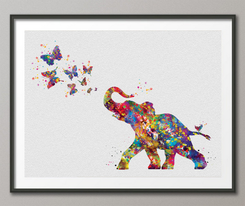 Baby Elephant and Butterflies Watercolor Print Baby Elephant with Butterfly Birthday Gift Nursery Decor Family Baby Shower Gift Kids Art-900 - CocoMilla