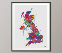 United Kingdom Map, United Kingdom Watercolor, Abstract Map, UK Map, Great Britain Map, England Map, English Home Decor, Wall Hanging-920 - CocoMilla