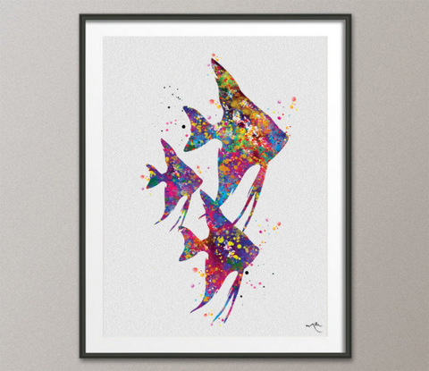 Angelfish Family Watercolor Print Dad Mom Kid Gift Sea Life Decor Coastal Print Sea Tropical Fish Aquarium Decor For Kids Home Decor-631 - CocoMilla