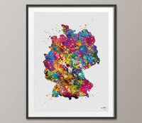 Germany Map Watercolor Print Deutschland Anniversary Honeymoon Wedding Gift Travel Art Country Map Wall Decor Home Decor Wall Hanging-1404 - CocoMilla
