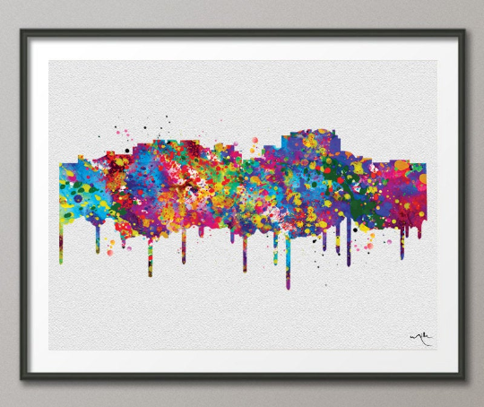 National Harbor Skyline Watercolor Print Cityscape Maryland Wedding Gift Poster Washington DC Travel Art Wall Decor Wall Hanging-528 - CocoMilla