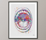 Mouth Anatomy Watercolor Print Medical Art Surgeon Dental Clinic Decor Orthodontist Gift Dental Dentist Dentistry Office Oral Cavity-694 - CocoMilla
