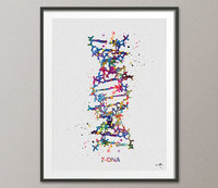 DNA Molecule Z-DNA Watercolor Print Medical Wall Art Nurse Gift Medical Art Science Art Clinic Gift Doctor Genetic Laboratory Biology-1055 - CocoMilla