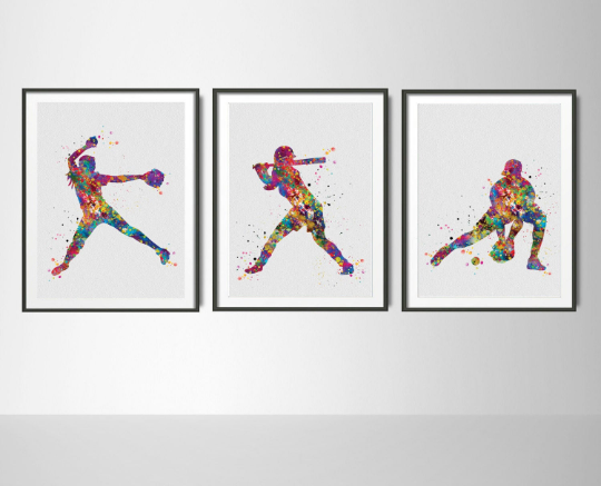Baseball Player Watercolor Print Set Softball Player Pitcher Catcher Print Set Baseball Art Baseball Poster Gift Sport Art Wall Art-1052 - CocoMilla