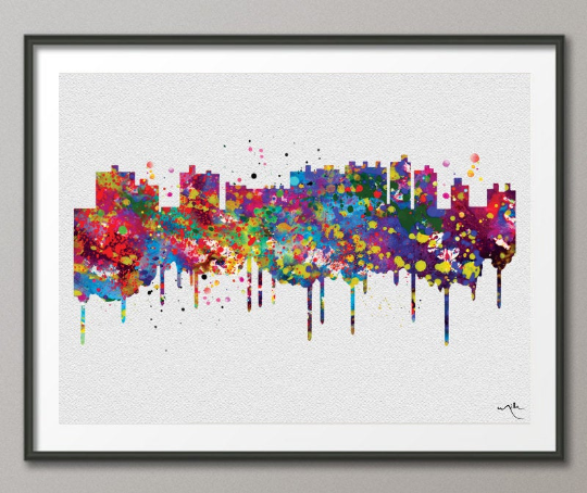 Ocean City Skyline Watercolor Print Cityscape Office Decor Wedding Gift Poster Ocean City Poster Travel Art Wall Decor Wall Hanging-519 - CocoMilla