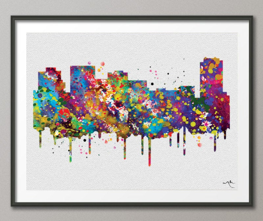 Norfolk Skyline Watercolor Print Cityscape Living Room Wedding Gift Poster Norfolk Poster Travel Art Wall Decor Wall Hanging Map Art-515 - CocoMilla