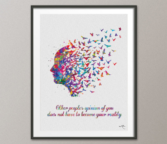 Free Mind Quote 1 Watercolor Print Flying Birds Quote Meditation Art Yoga Print Psychology Clinic Terapy Art Yoga Wall Decor Nirvana-739 - CocoMilla