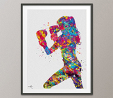 Boxing Girl Watercolor Print Martial Arts Nursery Fight Sports Gift Art Wall Art Wall Decor Female Woman Fighter Gift Sport Wall Hanging-928 - CocoMilla