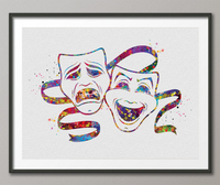 Theatre Masks Watercolor Print Comedy and Tragedy Actor Gift Mask Carnival Musical Show Drama Theatrical Theater Wall Art Decor Cinema-1425 - CocoMilla