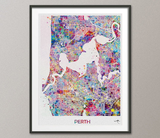 Perth City Map Watercolor Print Perth Gift Australia Travel Decor Wanderlust Decor Wall Hanging Perth Gift Perth Map Wall Art Poster-1057 - CocoMilla