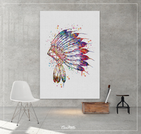 Native American Headdress Indian Chief Art Watercolor Print Wedding Gift Wall Decor Art indian art Nursery Home Decor Wall Hanging No [576] - CocoMilla