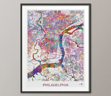 Philadelphia City Street Map Watercolor Print Pennsylvania Print Wanderlust Home City Poster Wall Art Home Decor Back To School Office-302 - CocoMilla