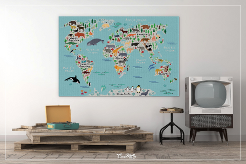 Animal World Map, Animal Map, Canvas Print, Kids World Map, For Kids, Dorm Room, Nursery Decor, Wall Art, Animal Print, World Map Animal-876 - CocoMilla
