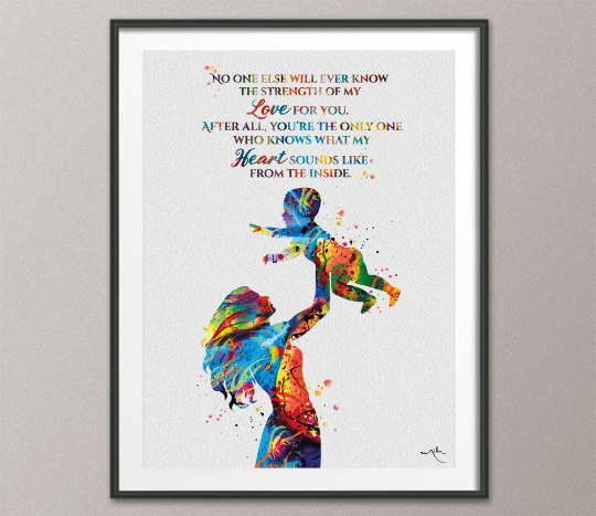 Mother and Child Quote Watercolor Print Mother and Baby Midwifery Gift Boy Girl Family with Kids Motherhood New Mum Baby Shower Nursery-1582 - CocoMilla