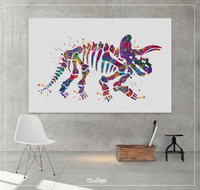 Triceratops Dinosaur Skeleton Watercolor Print Boy Gift Art Print For Kids Nursery Wall Art Kids Wall Decor Home Decor Wall Hanging-1124 - CocoMilla