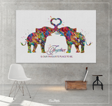 Elephant Together Quote Watercolor Print Wedding Gift Anniversary Gift Couple Print Valentines Day Housewarming Gift Family Wall Art-1447 - CocoMilla