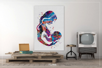 Mother and Son Breastfeeding Watercolor Print Mother and Baby Mother and Children Mother and Kids New Mum Baby Shower Nursery Wall Decor-74 - CocoMilla