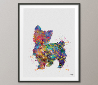 Yorkshire Terrier Watercolor Dog Print Yorkie art print Terrier Art Gift Pet Dog Love Friend Animal Dog Poster Dog Art [NO552] - CocoMilla