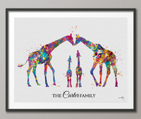 Giraffe Family Personalized Gift Watercolor Print Wedding Gift Family Wall Art Wall Decor Valentines Day Gift Home Decor Wall Hanging-1577 - CocoMilla