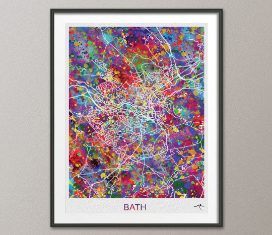Bath Map, Bath Watercolor Print, Bath Street Map, Travel Decor, City Map Art, England Street Map, Somerset Map, United Kingdom Map-893 - CocoMilla