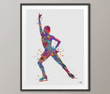Ice Skater Girl Female Woman Watercolor Print Ice Skating Painting Figure Skating Print Wall Decor Dorm Decor Skating Wall Hanging-1008 - CocoMilla