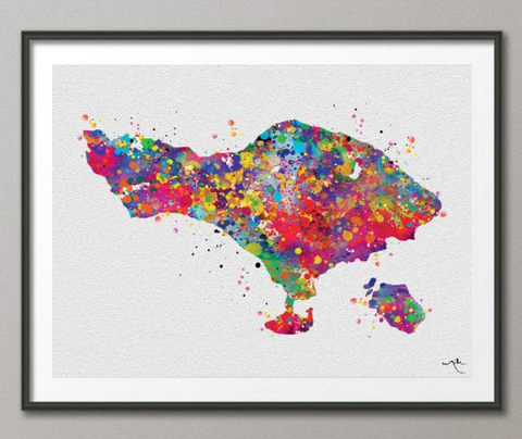Bali Map Watercolor Print Travel Art Anniversary Gift Indonesia Bali Print Map Love Honeymoon Gift Traveller Wedding Gift Wanderlust-946 - CocoMilla