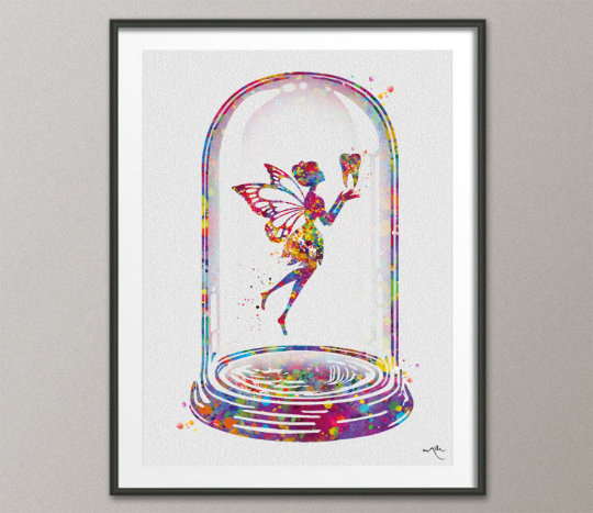 Tooth Fairy in Glass Dome Watercolor Print Dental Art Dentist Poster Teeth Anatomy Decor Clinic Wall Decor Medical Art Dental Office Art-154 - CocoMilla