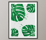 Monstera Leaf Watercolor Print Tropical Wall Art Wedding Gift Green Flower Print Kids Wall Art Nursery Wall Art Home Decor Wall Hanging-1187 - CocoMilla